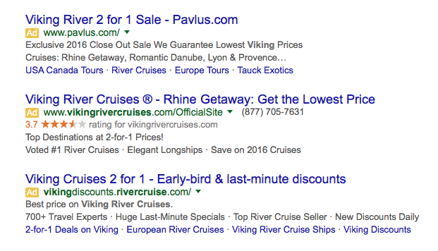 Google ads for Viking cruises