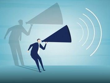 Graphic of business man shouting into megaphone
