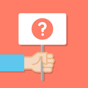 Hand holding sign with question mark on orange background