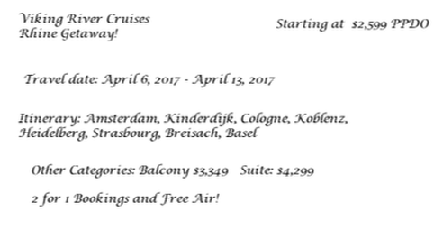 Example booking for a Viking cruise