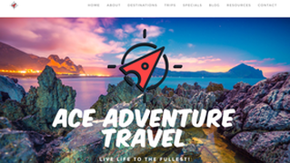 Ace Adventure Travel home page with paper plane logo